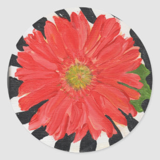 Red Gerbera Daisy on Zebra Classic Round Sticker