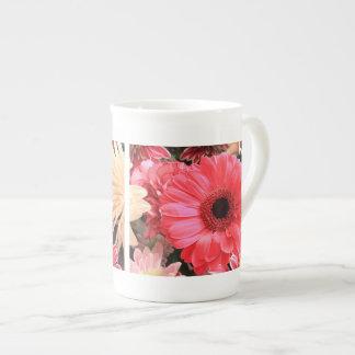 Red Gerbera Daisy Bone China Mugs