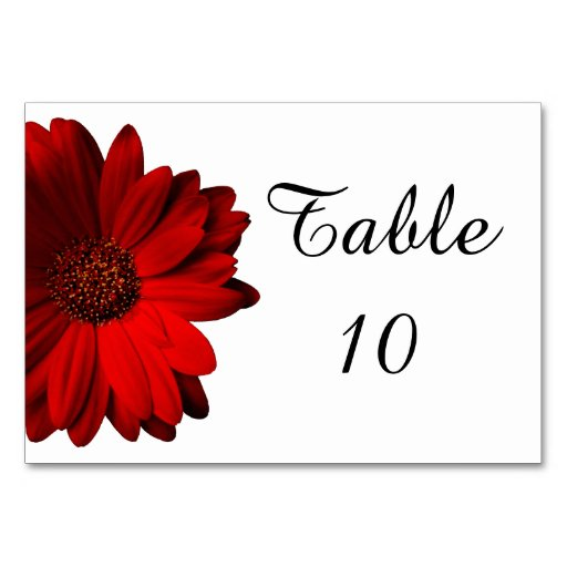 Red Gerbera Daisy Wedding Table Card