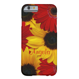 Red Gerbera Daisy Yellow Sunflower iPhone 6 case Barely There iPhone 6 Case