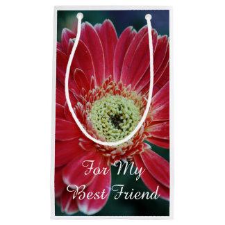 Red Gerbera Flower Best Friend Small Gift Bag