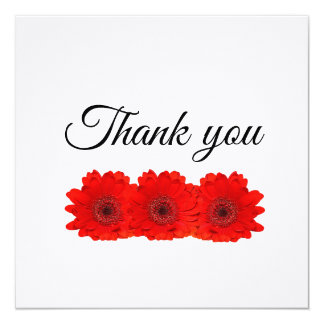 Red gerbera personalised Wedding Thank you card