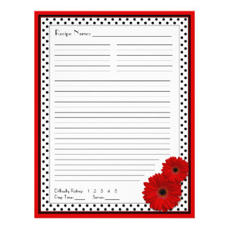 Red Gerbera Polka Dot Binder Recipe Inserts Flyer