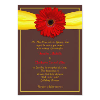 Red Gerbera with Yellow Ribbon Invitation