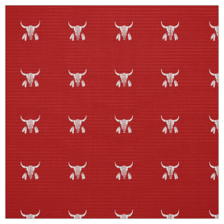 Red Ghost Dance Buffalo poly weave fabric