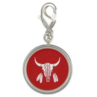 Red Ghost Dance Buffalo round charm