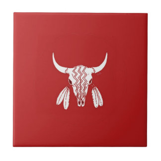 Red Ghost Dance Buffalo small red tile