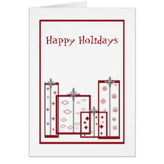 red gift boxes, Happy Holidays Greeting Card