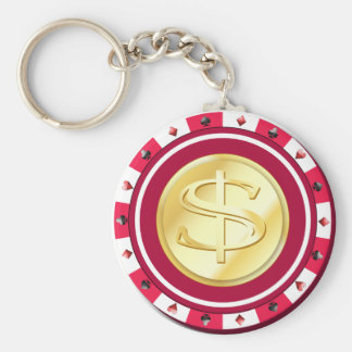 Red Gilded Poker Chip Keychain