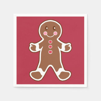 Red Gingerbread Boy Napkins Disposable Serviettes