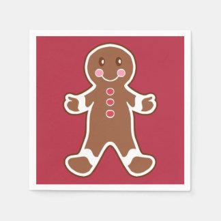 Red Gingerbread Boy Napkins Disposable Serviettes