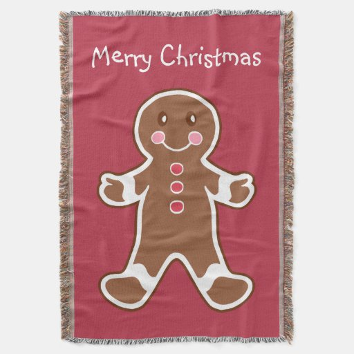 Red Gingerbread Boy Throw Blanket