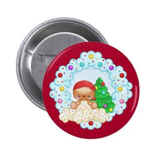 Red Gingerbread Boy Wreath Pixel Art 6 Cm Round Badge