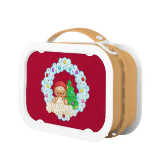 Red Gingerbread Boy Wreath Pixel Art Lunchboxes