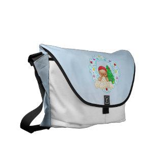 Red Gingerbread Boy Wreath Pixel Art Messenger Bag