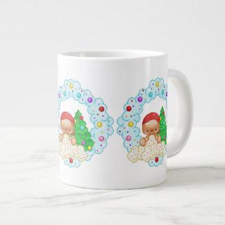 Red Gingerbread Boy Wreath Pixel Art Jumbo Mug