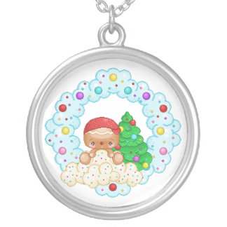 Red Gingerbread Boy Wreath Pixel Art Round Pendant Necklace