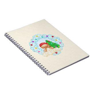 Red Gingerbread Boy Wreath Pixel Art Notebook