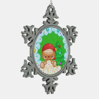 Red Gingerbread Boy Wreath Pixel Art Pewter Snowflake Decoration