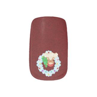 Red Gingerbread Boy Wreath Pixel Fingernail Transfer