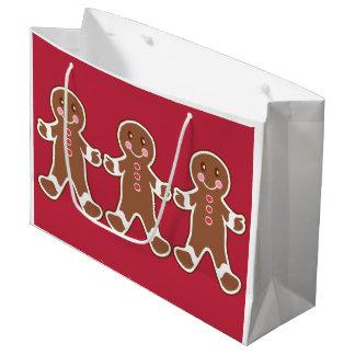 Red Gingerbread Boys Christmas Gift Bag Large Gift Bag