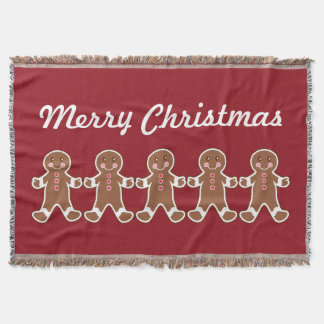 Red Gingerbread Boys Throw Blanket