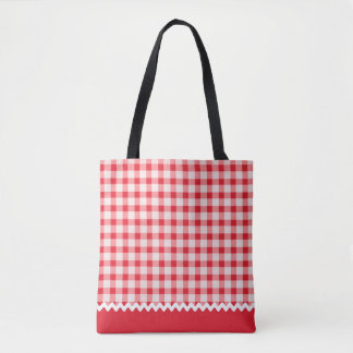 Red Gingham All Over Print Tote Bag
