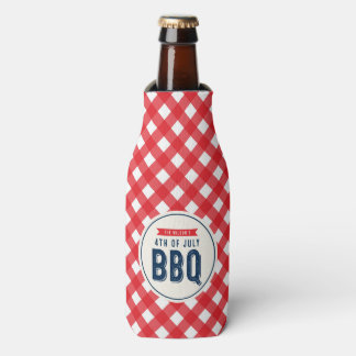 Red Gingham and Blue 4th of July BBQ Bottle Cooler