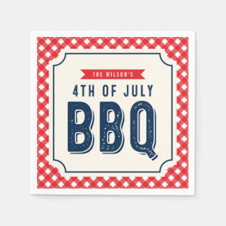 Red Gingham and Blue 4th of July BBQ Paper Napkins
