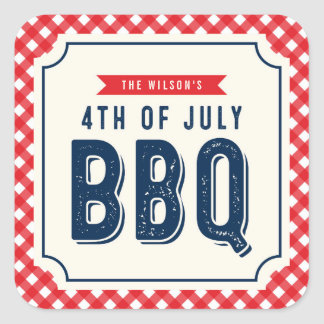 Red Gingham and Blue 4th of July BBQ Square Sticker