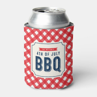 Red Gingham and Blue Fourth of July BBQ Can Cooler
