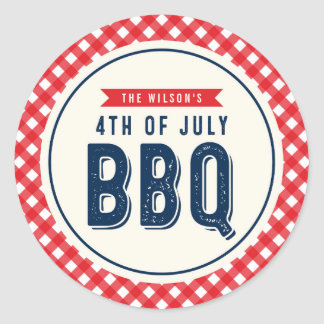 Red Gingham and Blue Fourth of July BBQ Classic Round Sticker