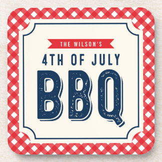 Red Gingham and Blue Fourth of July BBQ Coaster
