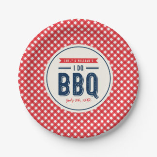 Red Gingham and Blue I Do BBQ Engagement Party Paper Plate