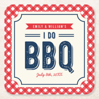 Red Gingham and Blue I Do BBQ Engagement Party Square Paper Coaster