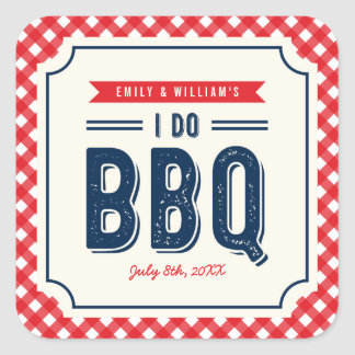 Red Gingham and Blue I Do BBQ Engagement Party Square Sticker