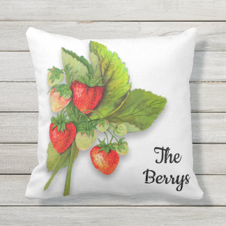 Red Gingham and Strawberries Outdoor Cushion