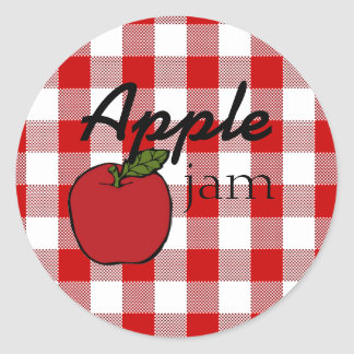 Red Gingham Apple Jam Classic Round Sticker