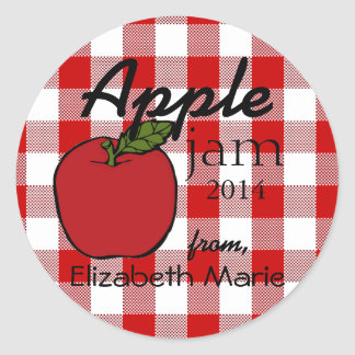 Red Gingham-Apple Jam Classic Round Sticker