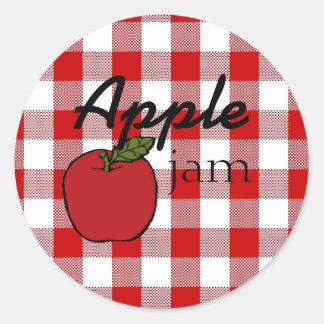 Red Gingham Apple Jam Round Sticker