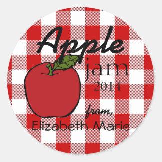 Red Gingham-Apple Jam Round Sticker