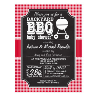 Red Gingham BBQ Baby Shower Invitation Postcard