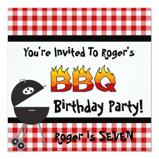 Red Gingham BBQ Birthday Party Invitations