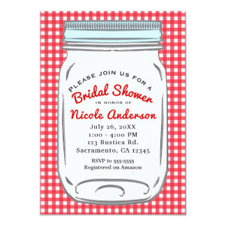 Red Gingham & Blue Mason Jar Rustic Country Card