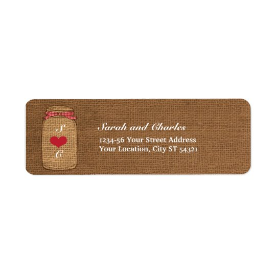 Red Gingham & Burlap Mason Jar Return Address Return Address Label