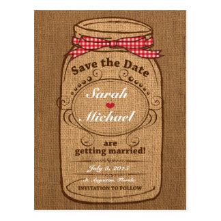 Red Gingham & Burlap Mason Jar Save the Date Postcard