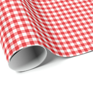 Red gingham check wrapping paper