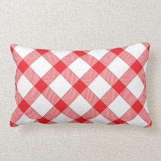 Red Gingham Checker Checked Checkered Pattern Lumbar Cushion