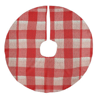 Red Gingham Checkered Pattern Burlap Look Faux Linen Tree Skirt