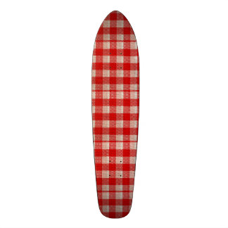 Red Gingham Checkered Pattern Burlap Look Skate Board Decks